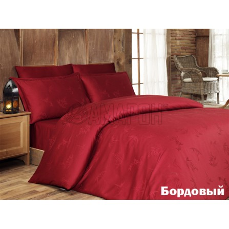 Постельное белье бамбуковое Karna с жаккардом 1,5-спальное (бордовое)