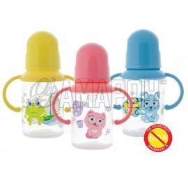 Курносики бутылочка полипропиленовая с ручками и силикон. соской 125 мл (11109)