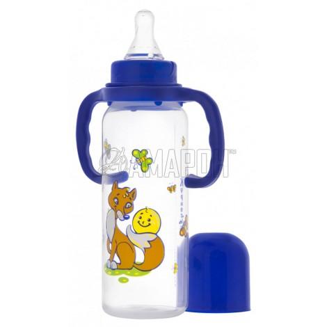 Курносики бутылочка полипропиленовая с ручками и силикон. соской 250 мл (11139)