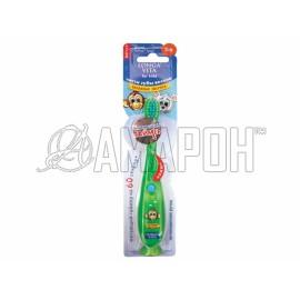 Лонга Вита зубная щетка детская мигающая с присоской, 3-6 лет