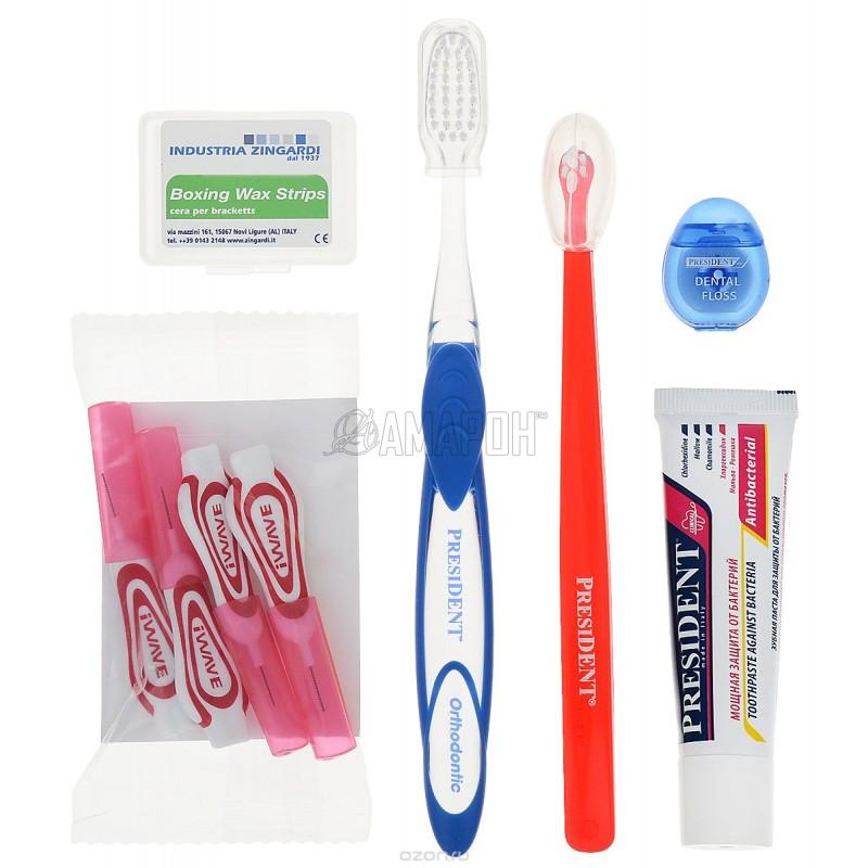 Президент Брекет набор (зуб/щетка Антиплак ортодонт., зуб/щетка малопучковая, ершики, зуб/нить, зуб/паста Сенситив)