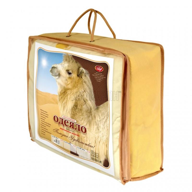 Одеяло с наполнителем из верблюжьей шерсти всесезонное 2-спальное (172х205 см)