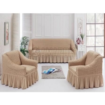 Чехол с оборкой на трехместный диван и два кресла (17 расцветок)
