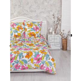 Постельное белье льняное 1,5-спальное, лен/хлопок Цветочный микс