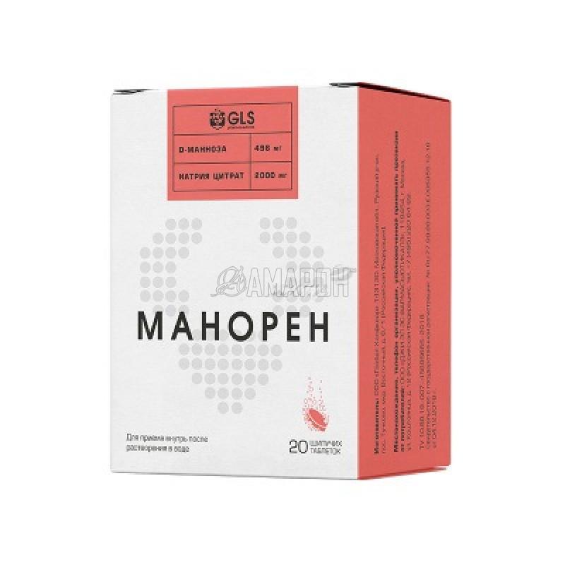 Манорен (персик, маракуя) таб. шип., 4 г, №20