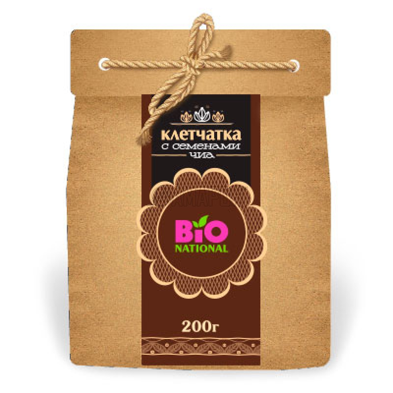 Клетчатка с семенами Чиа Bionational в эко-упаковке 200 г | доставка +7 дней