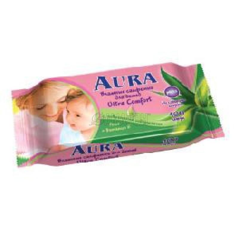 Салфетки влажные для детей алоэ и вит. Е Ультра Комфорт Aura Beauty, 100 шт.