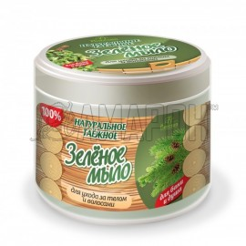 Ф38 Зеленое мыло таежное для бани и душа для тела и волос 450 г