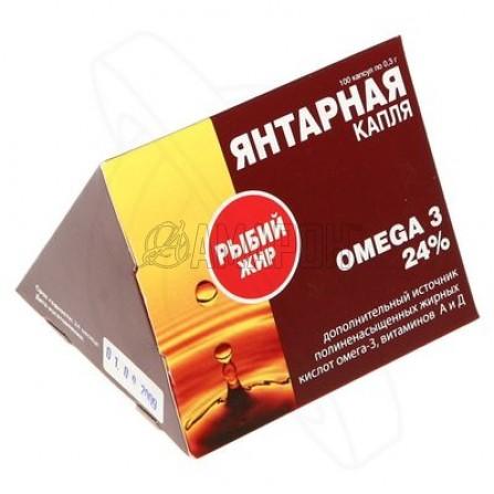 Янтарная капля Омега-3 рыбий жир 0,3 г, капс., №100