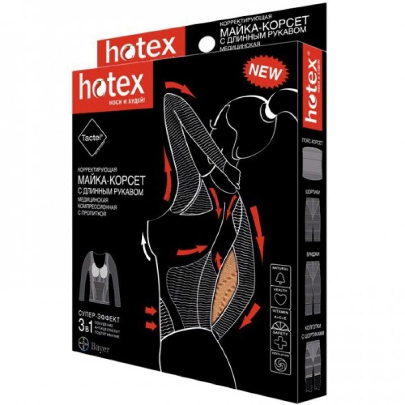 Хотекс майка-корсет длинный рукав, размер универсальный, черная