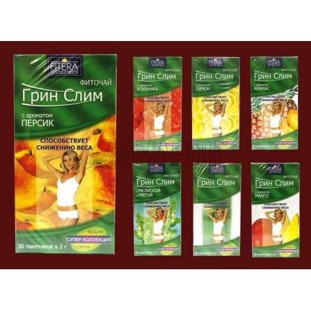 Грин Слим со стевией (клубника, киви) фиточай фильтр-пакеты 2 г., №30