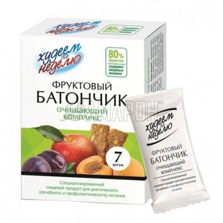 Худеем за неделю Батончик фруктовый очищающий комплекс 70 г, 7 шт. | доставка +7 дней